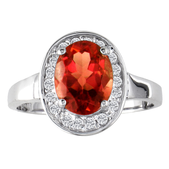 1 3/4ct Oval Garnet And .18ct Diamond Ring In 14k White Gold