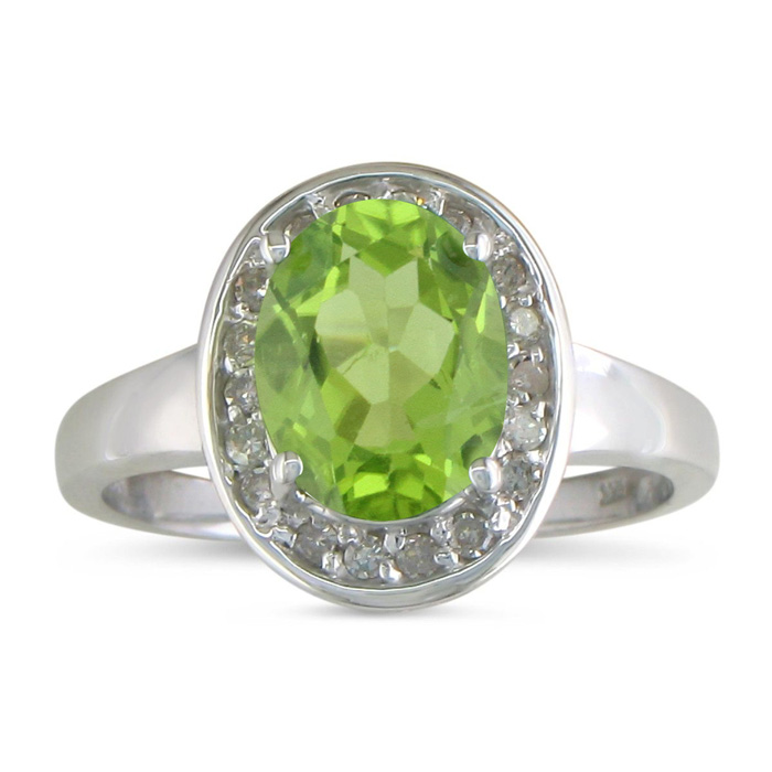 1 3/4ct Oval Peridot and .18ct Diamond Ring in 14k White Gold