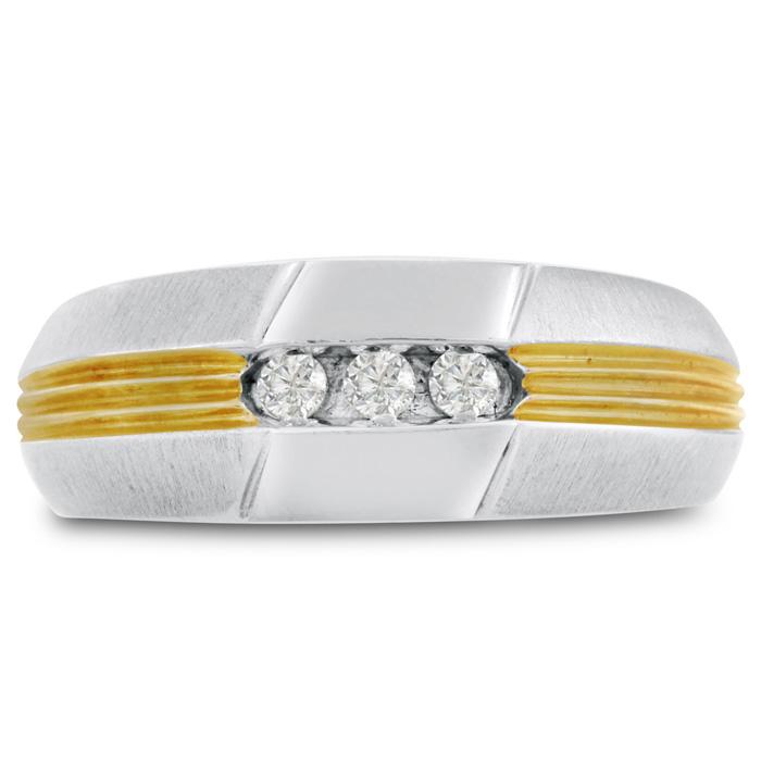 Men's 1/10ct Diamond Ring In 14k Two-tone Gold, G-h, I2-i3