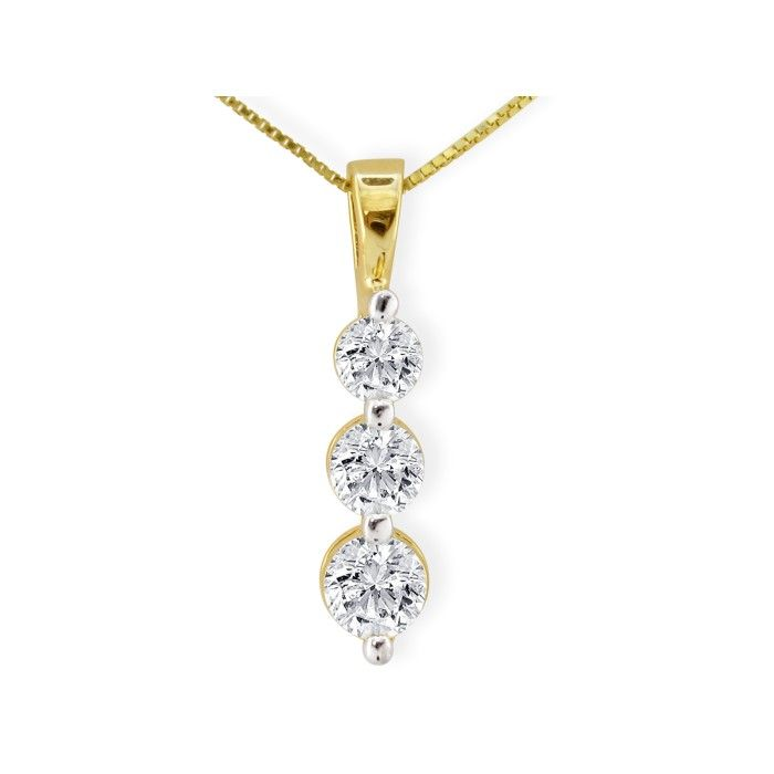 2ct Three Diamond Drop Style Diamond Pendant In 14k Yellow Gold