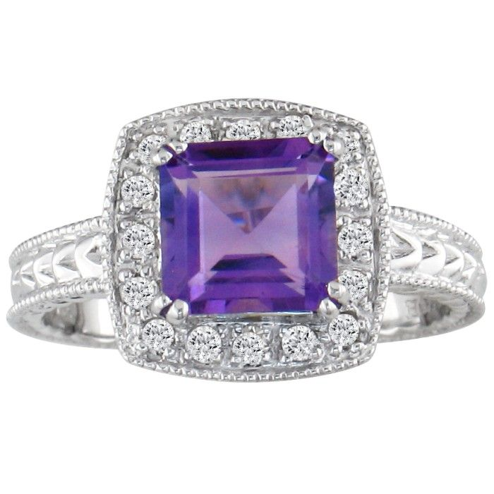 Amethyst and 1/5ct Engraved Diamond Ring, 10k White Gold