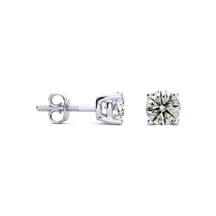 Platinum 2/3ct Diamond Stud Earrings, Beautiful and Fiery