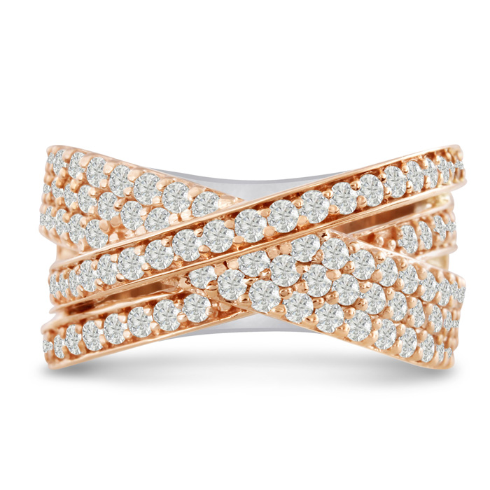 1 3/4ct Five Row Criss Cross Diamond Ring in 14 Karat Two-Tone Rose and White Gold