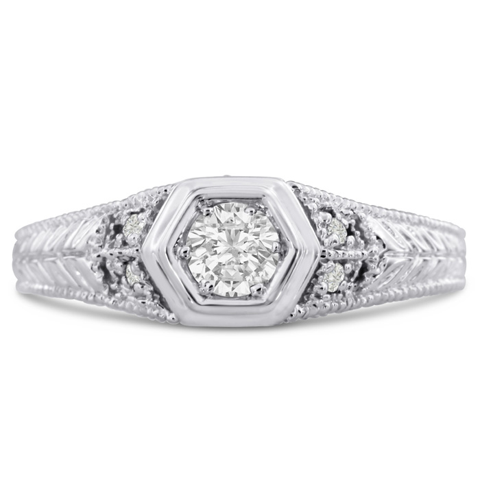 Antique 1/3ct Diamond Engagement Ring In 14 Karat White Gold. Also Available in Yellow and Rose.