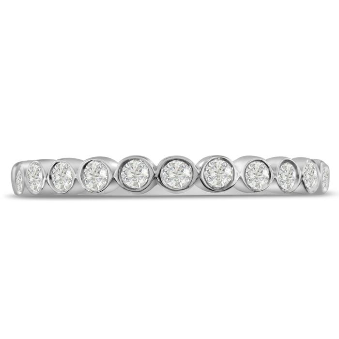 1/4ct Bezel Set Diamond Wedding Band In 14 Karat White Gold thumbnail