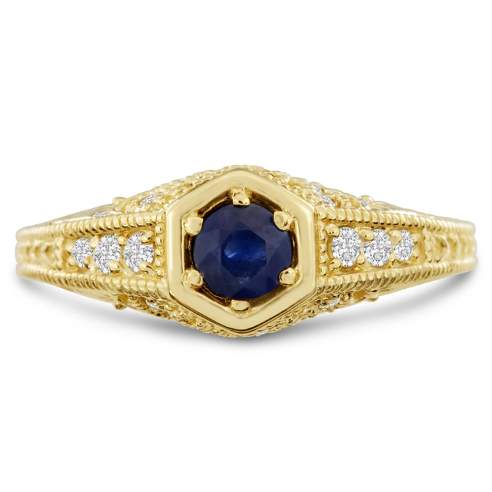Antique 3/4ct Sapphire and Diamond Engagement Ring In 14 Karat Yellow Gold