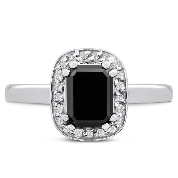 3/4ct Emerald Shape Black and White Diamond Ring In 14 Karat White Gold