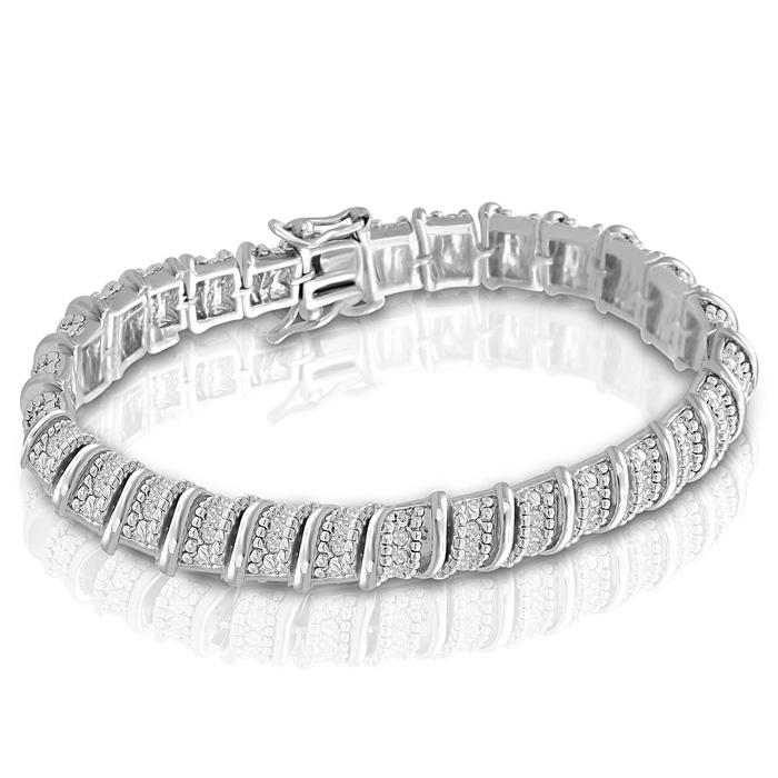 1ct Diamond Bracelet in Platinum Overlay