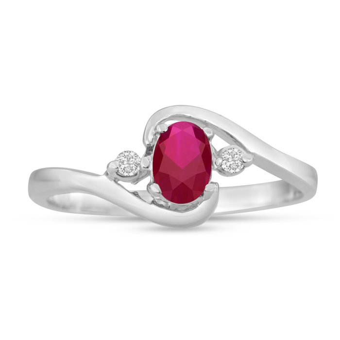 1/2ct Ruby And Diamond Ring In 14 Karat White Gold