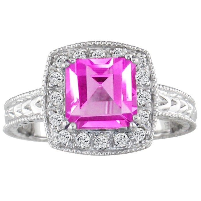 Pink Topaz and 1/5ct Engraved Diamond Ring in 10k White Gold