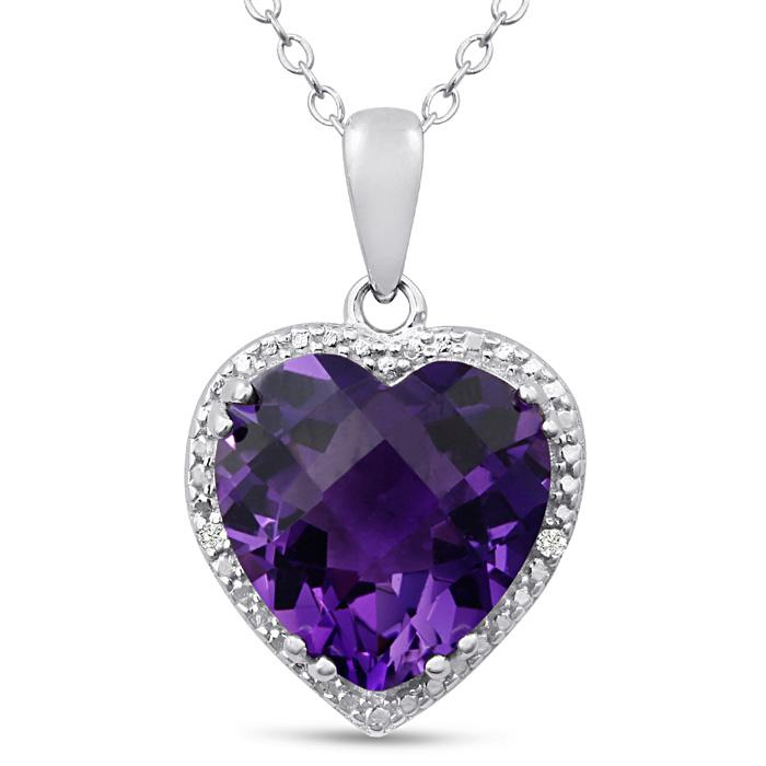 5ct Amethyst and Diamond Heart Necklace | SuperJeweler.com