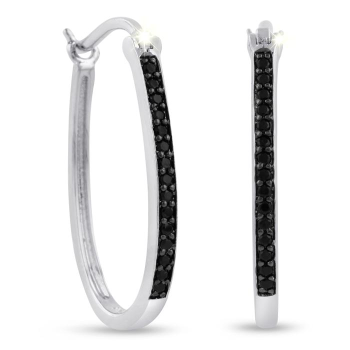 1/4ct Black Diamond Oval Hoop Earrings