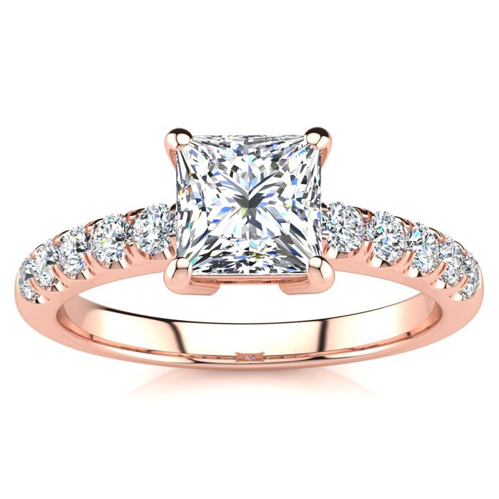 1 2/5ct Princess Cut Diamond Engagement Ring Crafted in 14 Karat Rose Gold