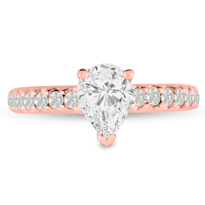1 1/2ct Pear Shaped Diamond Engagement Ring Crafted in 14 Karat Rose Gold thumbnail