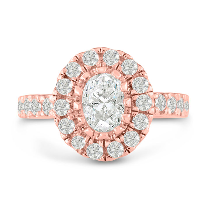 1 3/5ct Oval Halo Diamond Engagement Ring Crafted in 14 Karat Rose Gold
