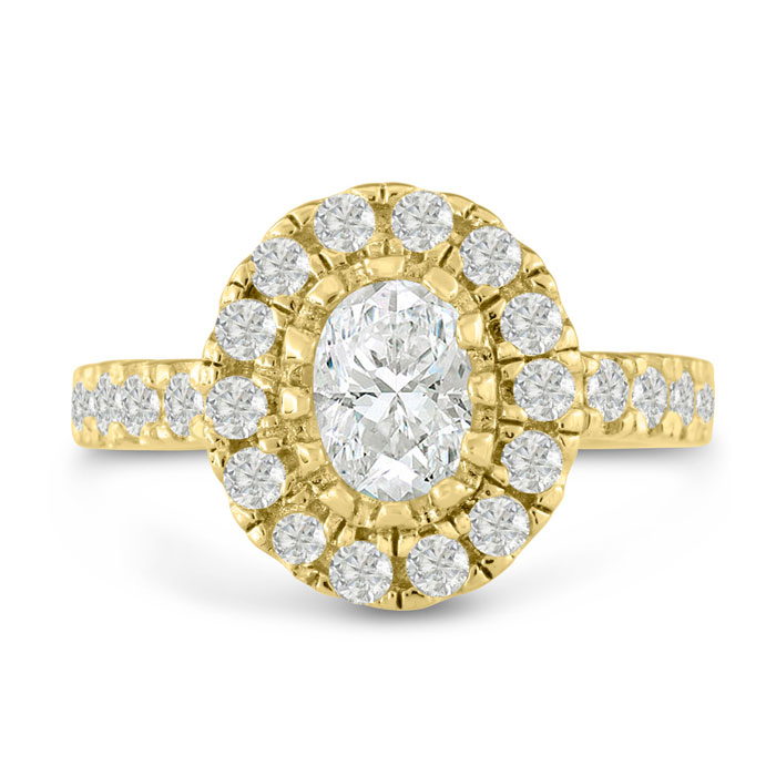 1 3/5ct Oval Halo Diamond Engagement Ring Crafted in 14 Karat Yellow Gold