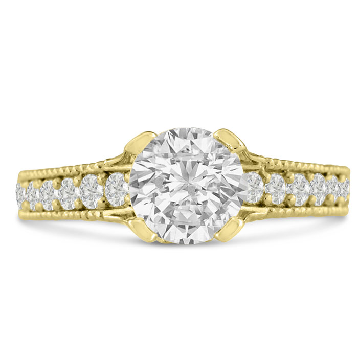 1 2/3ct Round Brilliant Diamond Engagement Ring Crafted in 14 Karat Yellow Gold