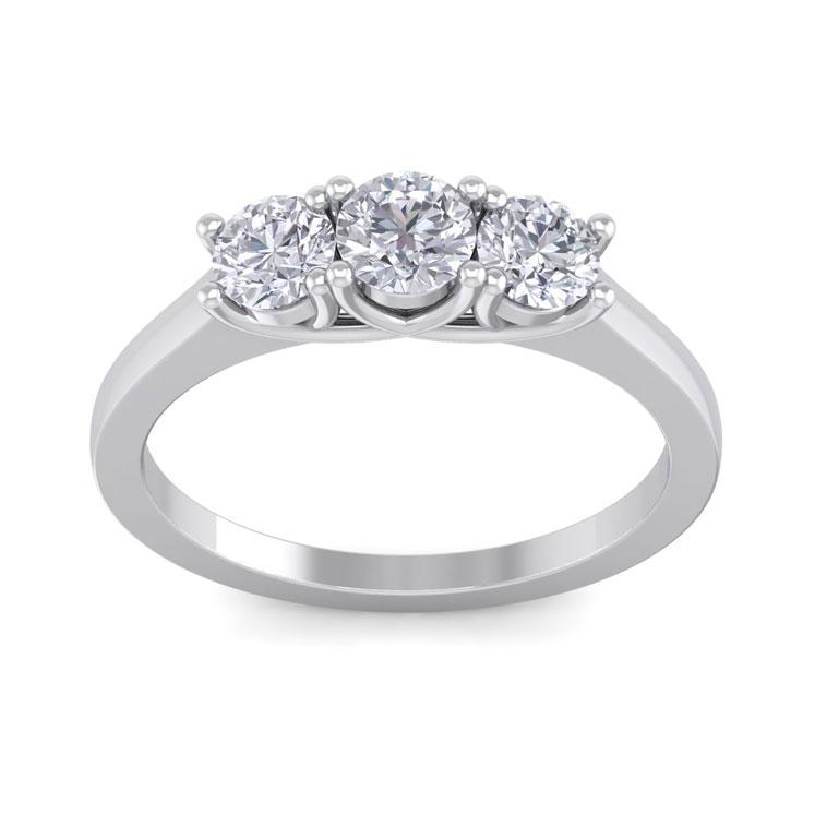 1 Carat Three Diamond Ring Crafted In 14 Karat White Gold