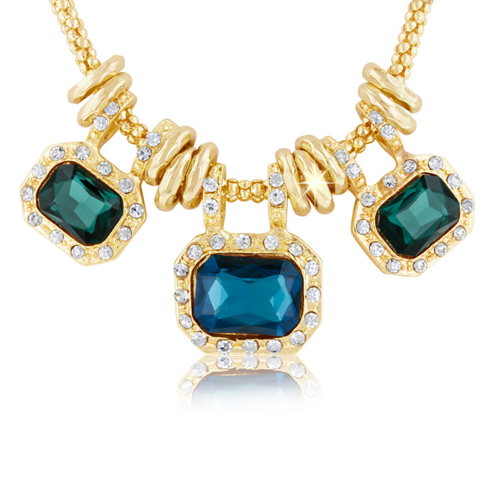 18 Karat Gold Plated Emerald and Blue Sapphire Glass And Crystal Statement Necklace, 18 Inches
