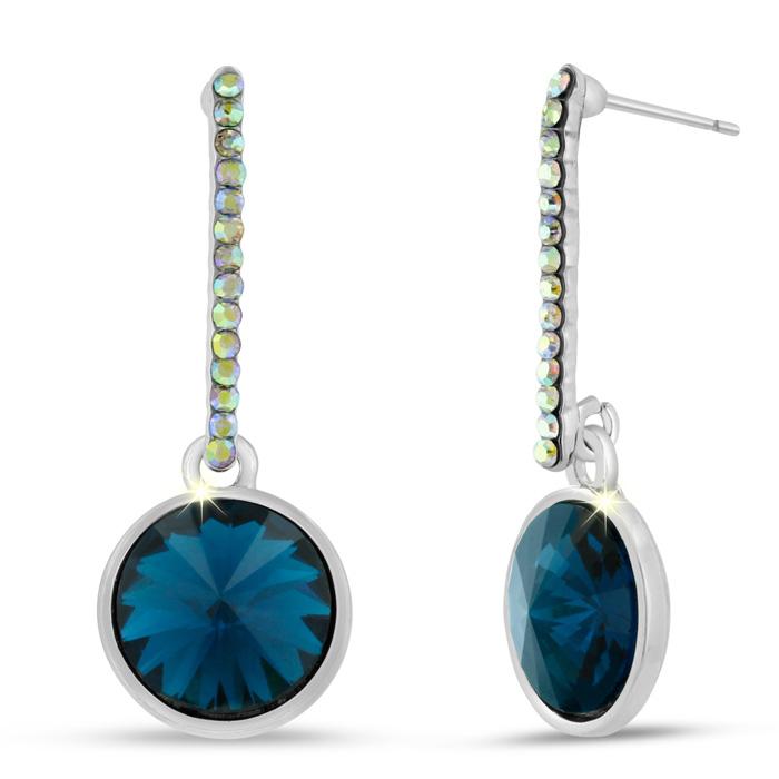Blue Sapphire Crystal Drop Earrings