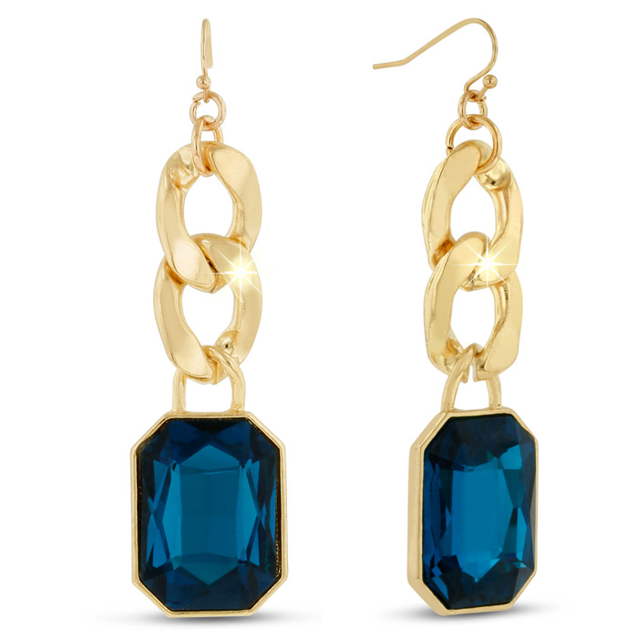 18 Karat Gold Plated Blue Sapphire Glass And Chain Dangle Earrings, 2 1/2 Inches