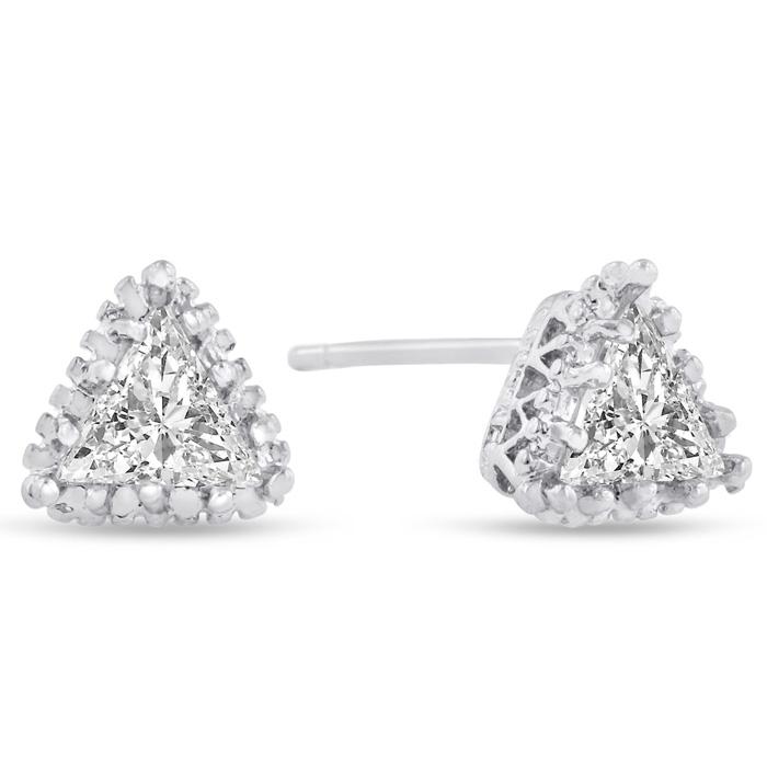 2 Carat Trillion Cut Swarovski Elements Crystal Stud Earrings