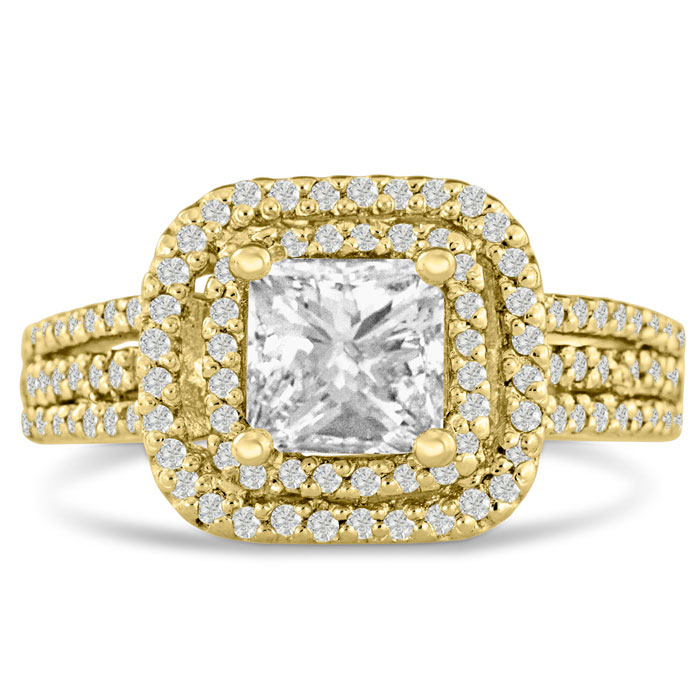 1 2/3ct Princess Cut Double Halo Diamond Engagement Ring Crafted in 14 Karat Yellow Gold