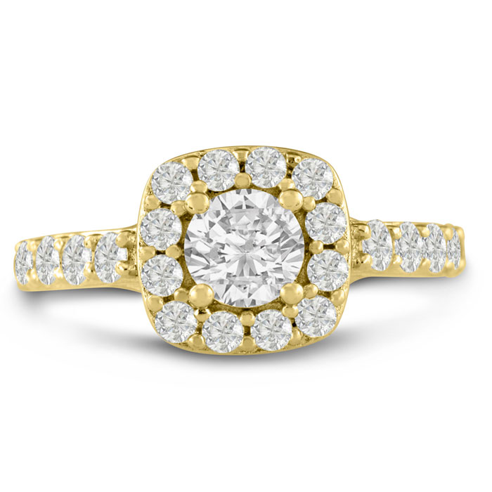 1 3/4ct Halo Diamond Engagement Ring Crafted In 14 Karat Yellow Gold