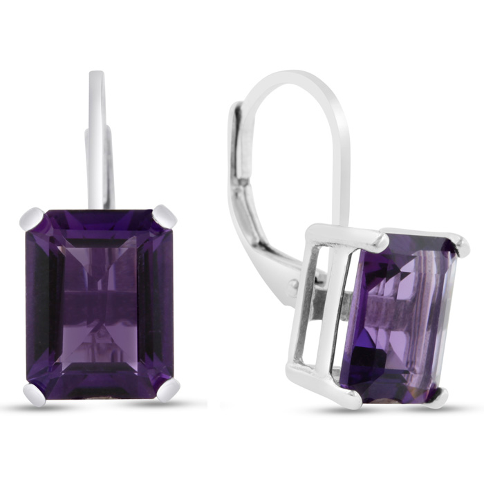 4 1/2 Carat Emerald Cut Amethyst Drop Earrings