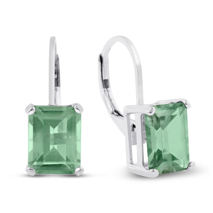 4 1/2 Carat Emerald Cut Green Amethyst Drop Earrings