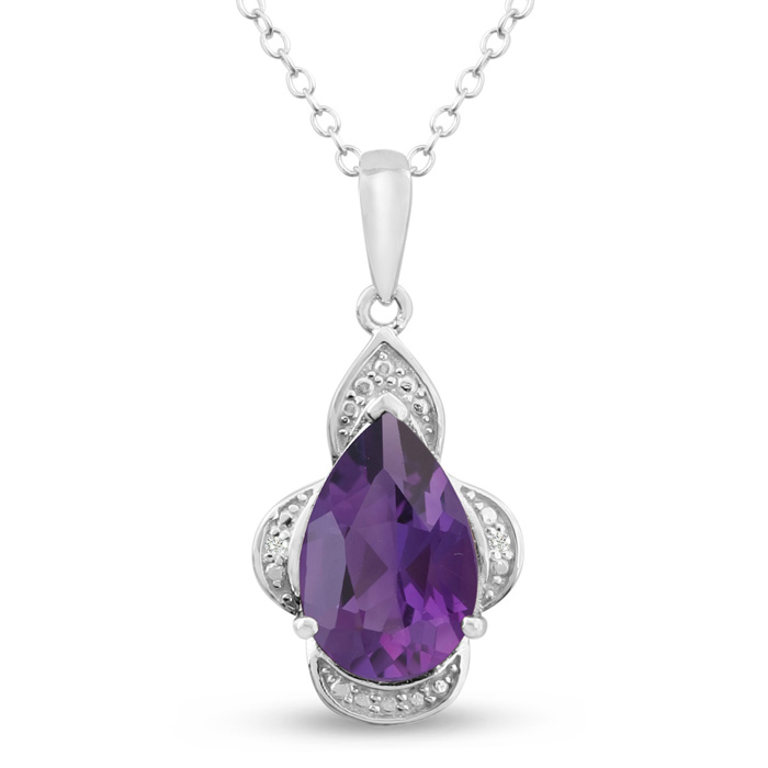 2.75ct Pear Shaped Purple Amethyst and Diamond Necklace