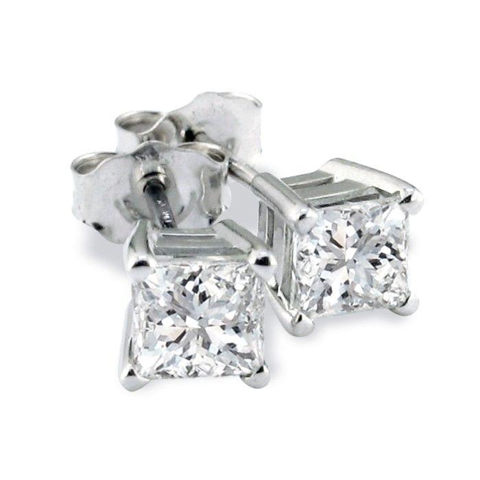 Platinum 3/4ct Princess Cut Diamond Stud Earrings, H/I, SI2/SI3