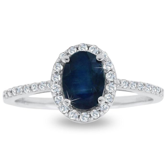 1ct Sapphire and Diamond Halo Ring