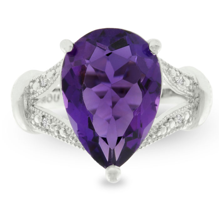 5ct Pear Shaped Purple Amethyst And Diamond Ring
