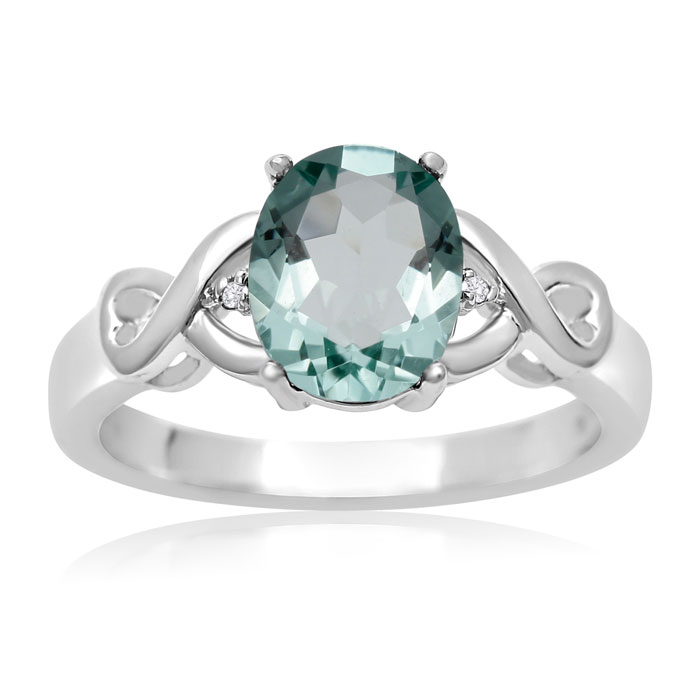 1.75ct Oval Shape Green Amethyst and Diamond Ring