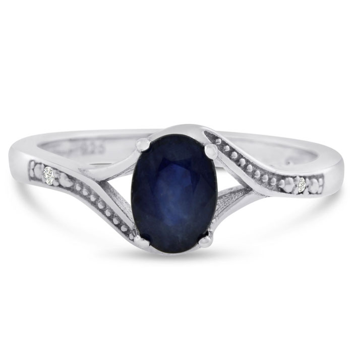 1ct Oval Sapphire Ring + Free Studs