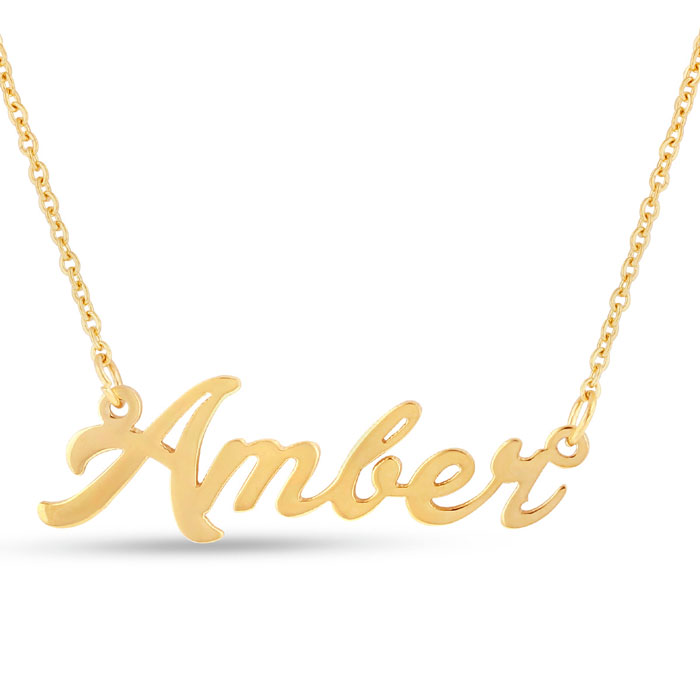 nameplate necklace in gold