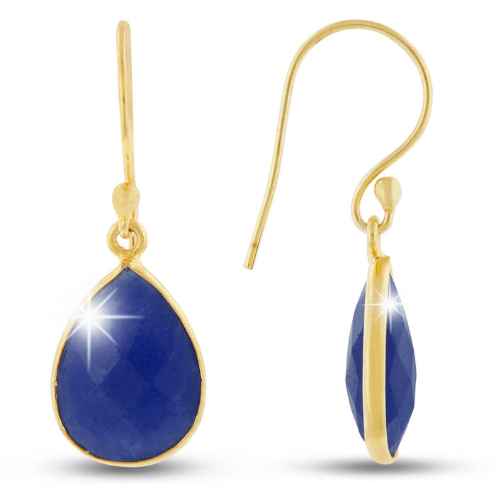 12ct Blue Sapphire Teardrop Earrings In 18k Gold Overlay