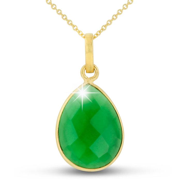 10ct Emerald Quartz Teardrop Necklace