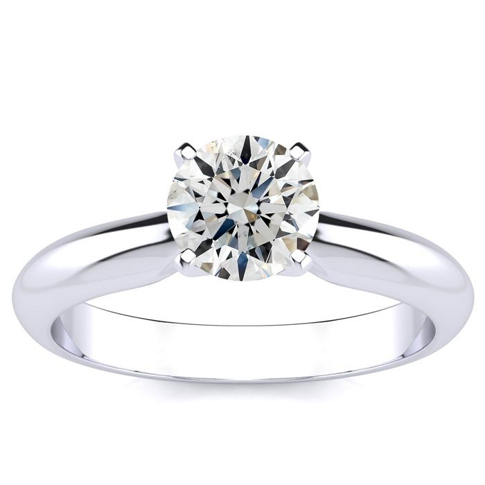 1ct Diamond Solitaire Engagement Ring, H-I Color, SI2 Clarity, 14K White Gold.