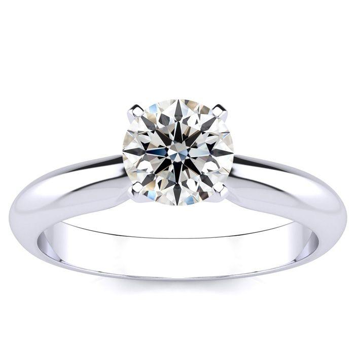 1ct Fine Diamond Engagement Ring in 14k White Gold