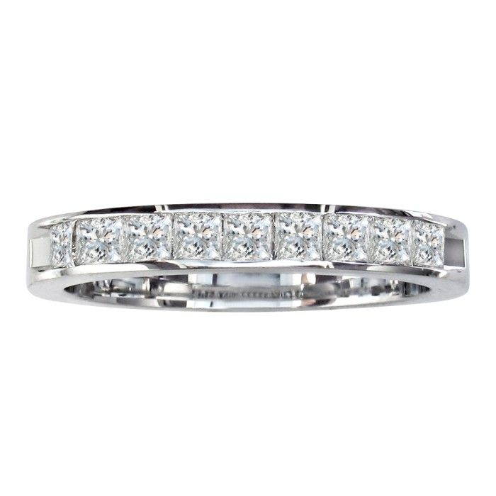 3/4ct Princess Diamond Channel Set Band, 14k White Gold