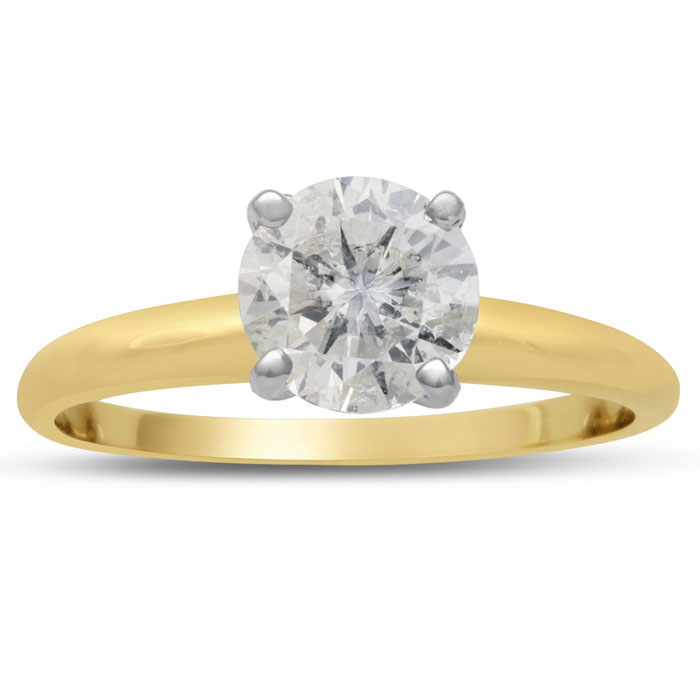 1.25ct Round Diamond Solitaire in 14k Yellow Gold, Clarity Enhanced