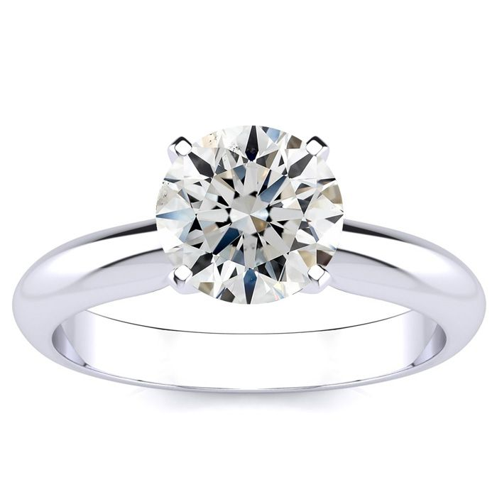 1.50ct Fine Round Diamond Solitaire in 14k White Gold, Clarity Enhanced