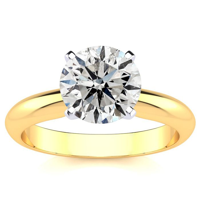 Fine Quality 2ct Diamond Solitaire in 14k Yellow Gold