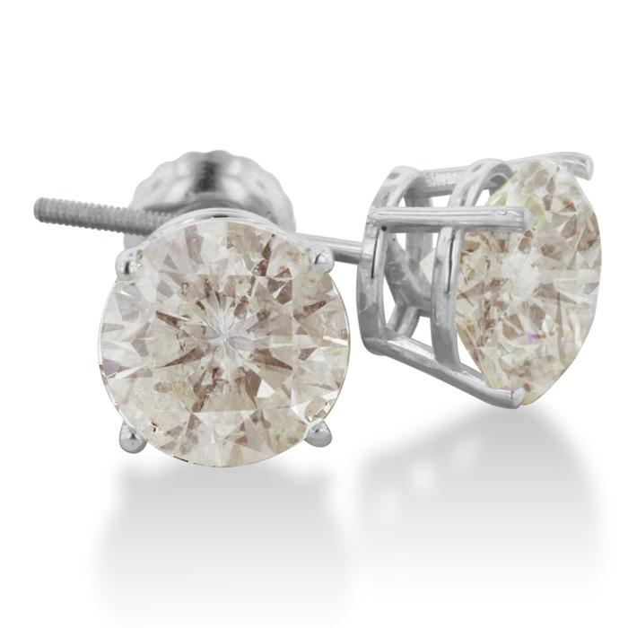 4 Carat GIANT Round Cut Fine White Diamond Stud Earrings In 18 Karat White Gold