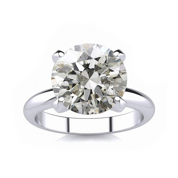 4.23 Carat Round Cut Diamond Platinum Solitaire Engagement Ring H I Color SI..