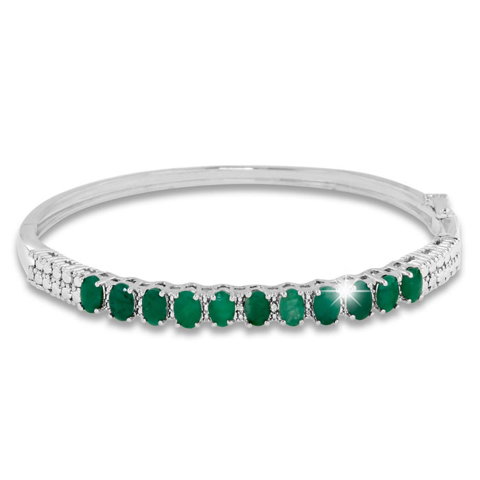 3 Carat Emerald and Diamond Bangle Bracelet