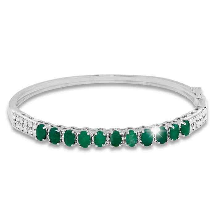 3 Carat Emerald and Diamond Bangle Bracelet