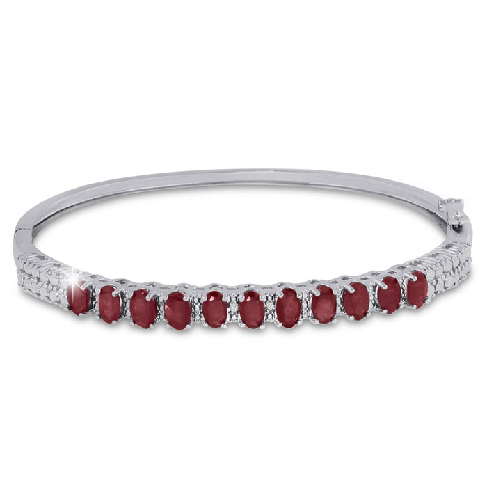 3ct Ruby and Diamond Bangle Bracelet